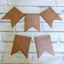 Set of 5 Plywood Vintage Style Flag Bunting