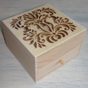 Wooden box with 4 compartments & drawer, hinge and magnetic catch, floral fretwork Secret Garden design to lid
