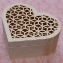 Heart Box with Fretwork lid, hinge & magnetic catch