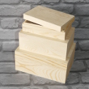 Set of 3 Rectangular Pine & Plywood Boxes with drop on lids