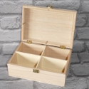 Rectangular 4 Compartment Box with hinge & clasp