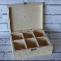 6 compartment box with hinge & clasp