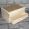 5 Compartment box with Drawer, Fretwork lid, hinge & magnetic catch