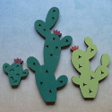 Pack of 3 Wooden Cacti shape decorations, painted as shown(wooden stands available, see item SA35)