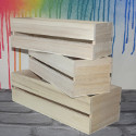 Set of 3 Wooden Crate with slatted sides