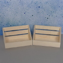 Set of 2 mini wooden crate storage boxes with hooks to hang
