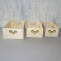 Set of 3 rectangular storage trays/boxes with heart shaped cut out detail