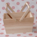 Wooden Basket with folding handles