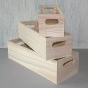 Set of 3 small wooden trug with slot handles
