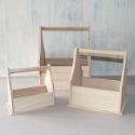 Set of 3 wooden bottle carrier