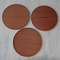 Set of 3 Round Plain Wooden disc circle plaques / pot plant stand craft shapes