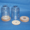Large Dome Bell Jar of clear plastic on MDF stand with footplate as shown. Hole in base suitable for fitting lights.