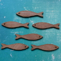 Set of 6 dark plywood fish shapes