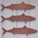 Set of 3 Dark Plywood Mackerel Fish