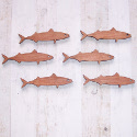Set of 6 dark Plywood Mackerel Fish