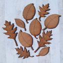 Set of 10  Wooden Leaf Shapes, as shown