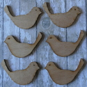 Set of 6 dark plywood bird shapes