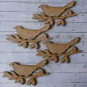 Set of 4 dark wood 14.5cm bird on branch shapes