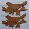 Set of 2 dark wood 17cm Bird on Branch Decoration