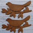 Set of 2 dark wood 20cm Bird on Branch Decorations