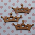 Set of 3 Dark Wooden Crown shapes