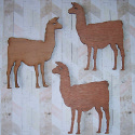 Set of 3 dark plywood Llama shapes