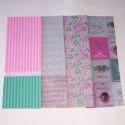 Pack of Decoupage Tissue Paper Skagen Vintage Style Pink Grey Green 2 sheets each of 4 designs