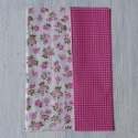 Pack of 2 sheets Artepatch decoupage tissue paper Sweet Roses Vintage style deep pink /green /white checks & country rose