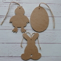 Set of 3 Papier Mache decorations, egg chick, bunny, with string for hanging