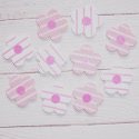 Pack of 10 Pink & White Striped Wooden Flower Shapes, as shown, with self adhesive pad