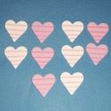 Pack of 10 Pink & White Striped Wooden Heart shapes, as shown, with self adhesive pad