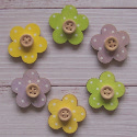 Pack of 6 Wooden Flower shapes with button detail, painted as shown