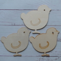 Set of 3 wooden chick shapes