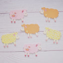 Pack of 6 wooden sheep painted as shown, on both sides