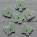 Pack of 6 Turquoise heart, flower, butterfly, with daisy motif