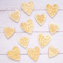 Pack of 12 Natural Wooden Hearts with embossed detail 6 large & 6 small