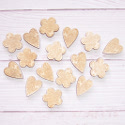 Pack of 16 Natural Wood Hearts & Flowers with Embossed detail 8 of each