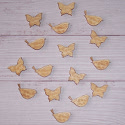 Pack of 16 Natural Wood Birds & Butterflies with Embossed detail, 8 of each