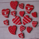 Pack of 15 Red hearts with Spots Stripes & Hearts in White, 9 large & 9 small