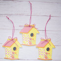 Set of 3 Birdhouse Hanging Decorations