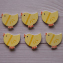 Pack of 6 Wooden Yellow Chick embellishments