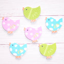 Pack of 6 Wooden Chick embellishments, colours as shown