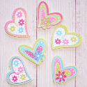 Pack of 6 wooden Heart Embellishments Bright colours floral patterns as shown