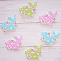 Pack of 6 Wooden Floral Rabbbit  embellishments card topper decorations, as shown