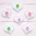 Pack of 6 wooden heart shape embellishments card topper with white pattern and button detail, as shown