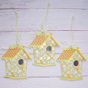 Set of 3 Wooden Birdhouse Hanging decorations