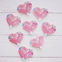 Pack of 8 Wooden  Pink tropical theme floral heart shapes with self adhesive pad