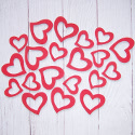 Pack of 20 outline red wooden heart shapes 10 large 10 small