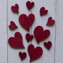Pack of 12 ( 4 lge. 8 sm.)Wooden Heart Shapes with engraved detail red
