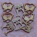 Pack of 8pc natural wood Wedding shapes 4 each of Hearts with Doves & Champagne glasses